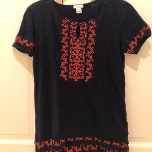 Blue and Orange J.Crew Embroidered Tee